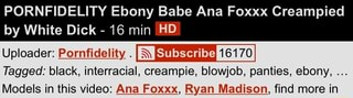 Pornfidelity ebony babe ana foxxx creampied white dick