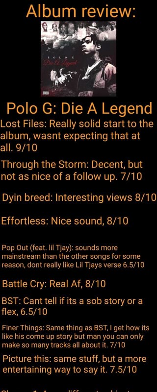 Album review: Polo G: Die A Legend Lost Files: Really solid