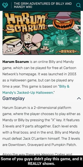 The Grim Adventures Of Billy And Mandy Wiki Harum Scarum Is An