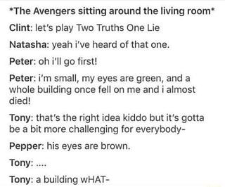 The Avengers sitting around the living room