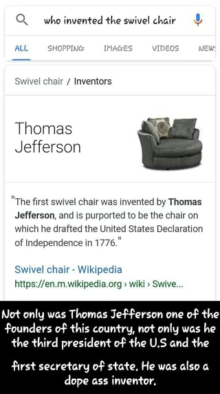 Super Swivel Chair Inventors Thomas Jefferson The Rst Swivel Gmtry Best Dining Table And Chair Ideas Images Gmtryco