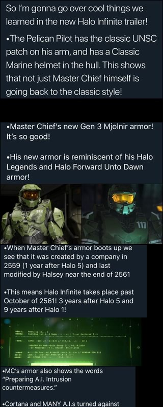 So I M Gonna Go Over Cool Things We Learned In The New Halo Infinite Trailer The Pelican Pilot Has The Classic Unsc Patch On His Arm And Has A Classic Marine Helmet
