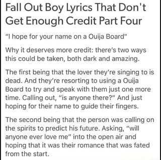 Fall Out Boy Lyrics That Don T Get Enough Credit Part Four