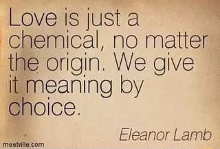 Love is just a chemical, no matter the origin We give It