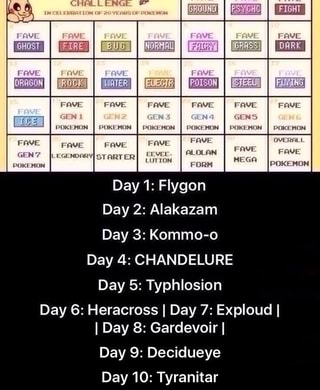 mm mm Day 1: Flygon Day 2: Alakazam Day 3: Kommo-o Day 4: CHANDELURE