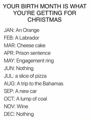 Image result for your birth month is what your getting for christmas