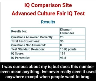 IQ Comparison Site Resufls Results for: Khamarl Fernandez Questions