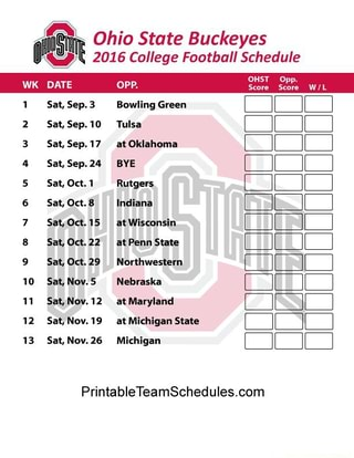 photo about Ohio State Football Schedule Printable titled Ohio Country Buckeyes 2016 Faculty Soccer Routine WW5 WK