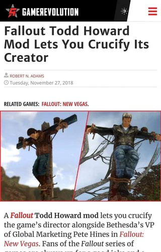 A Fallout Todd Howard mod lets you crucify the game's