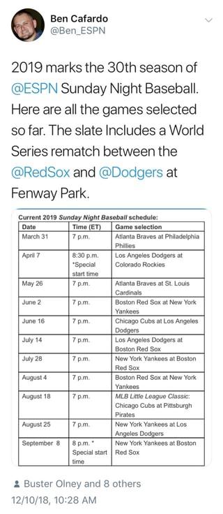 Espn Sunday Night Baseball Schedule 2019 2019 marks the 30th season of @ESPN Sunday Night Baseball. Here