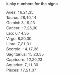 Leo Lucky Numbers
