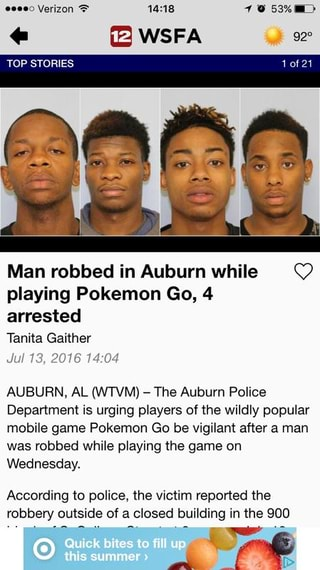 Man robbed in Auburn while O playing Pokemon Go, 4 arrested