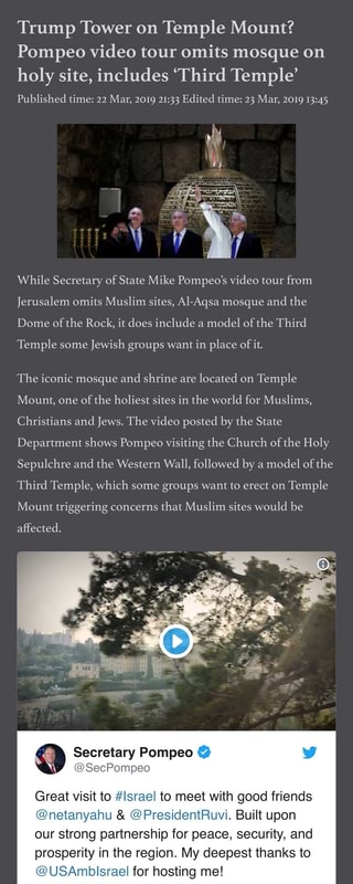 Trump Tower on Temple Mount? Pompeo video tour omits mosque on holy
