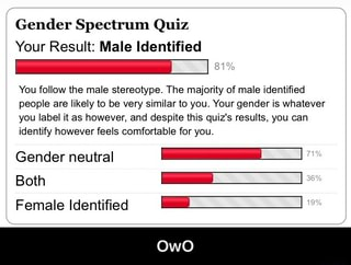Gender Spectrum Quiz Your Result: Male Identified _: