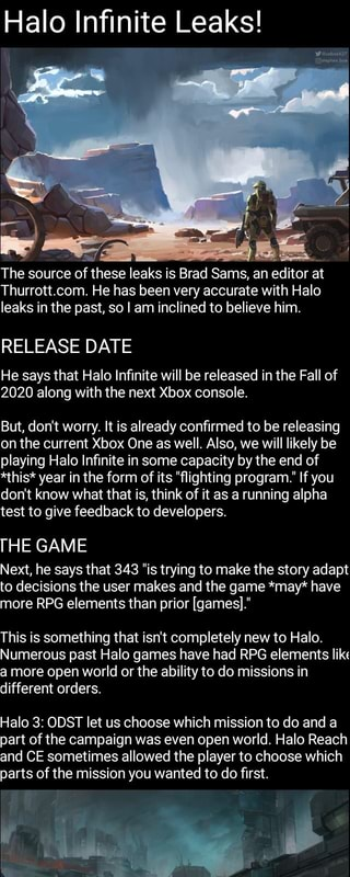 Halo Infinite Leaks! The source otthese leaks is Brad Sams, an