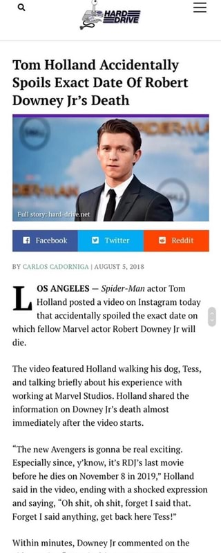 Tom Holland Accidentally Spoils Exact Date Of Robert Downey
