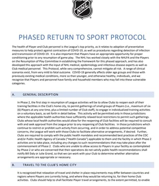 phased return to sport protocol the health of player and