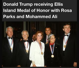 Donald Trump Receiving Ellis Island Medal Of Honor With Rosa Parks