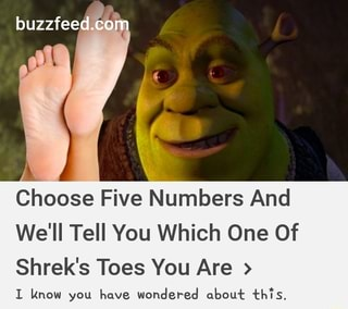 Choose Five Numbers And We Ll Tell You Which One Of Shrek S Toes You Are I Know You Have Wondered About Th L S Ifunny