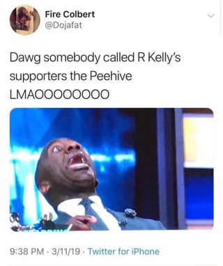 Dawg somebody called R Kelly's supporters the Peehive LIVIAOOOOOOOO