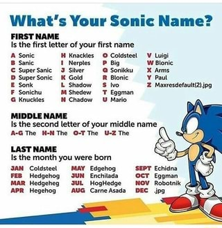What's Your Sonic Name? FIRST NAME Is lhe first letter of your first