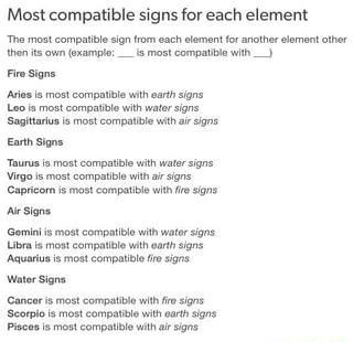 Most Compatible Signs For Each Element Tha Most Compatible Sign