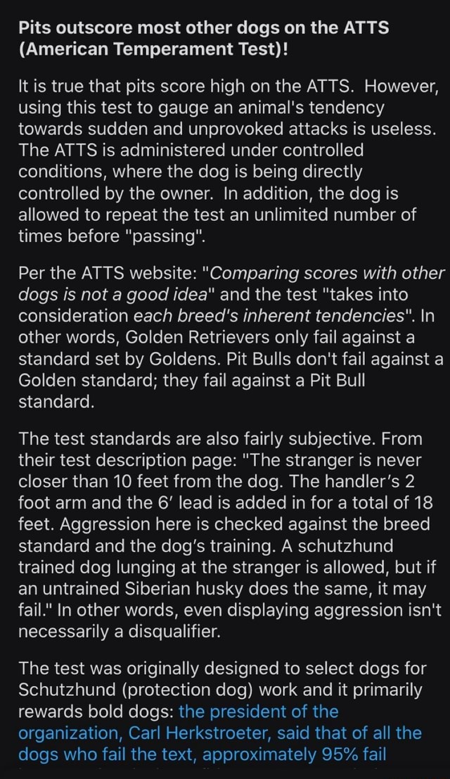 Pits Outscore Most Other Dogs On The Atts  American