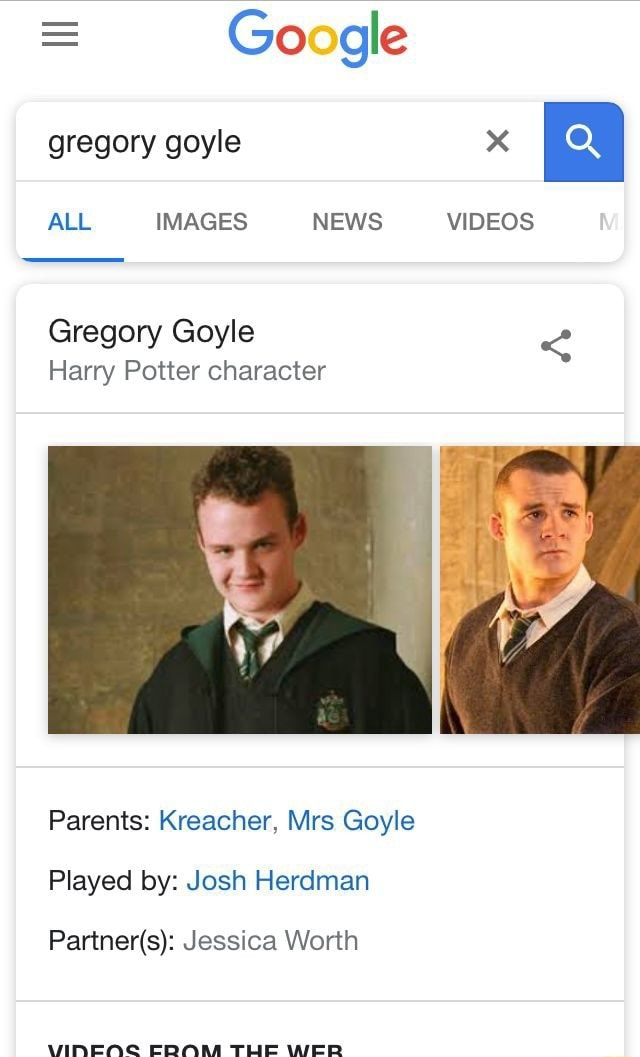 Go Gle Gregory Goyle Harry Potter Character Parents Kreacher Mrs Goyle Played By Josh Herdman Partner S Jessica Worth Ifunny Harry potter is a famous young. go gle gregory goyle harry potter