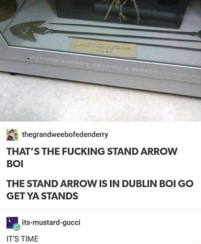 M Thegrandweebofedenderry The Stand Arrow Is In Dublin Boi Go Get Ya Stands Ifunny Standing arrow is an indie rock band from trinidad and tobago indie rock song by the band standing arrow. dublin boi go get ya stands ifunny