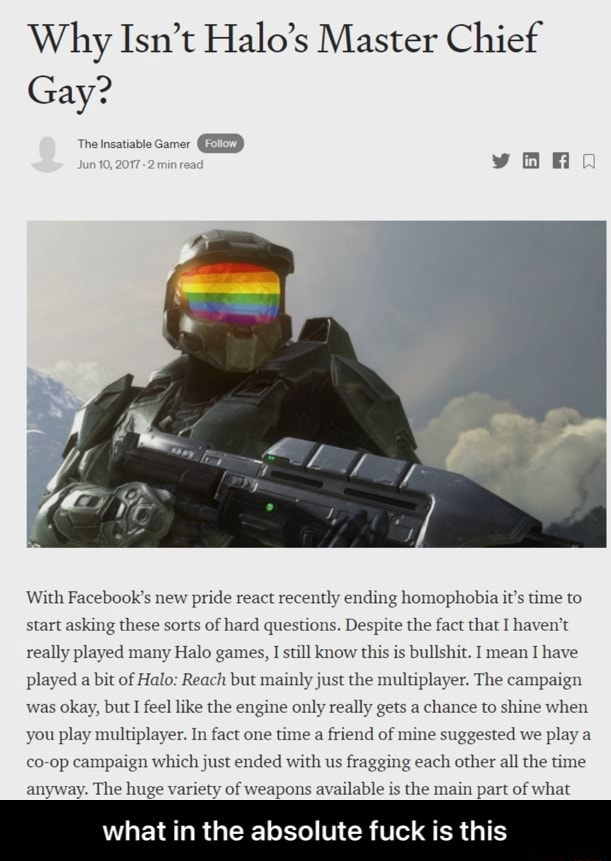 Master chief big boobs Why Isn T Halo S Master Chief Gay The Satiable Gamer Ed With Facebook S New Pride React Recently Ending Homophobia It S Time To Start Asking These Sorts Of Hard Questions Despite The Fact That