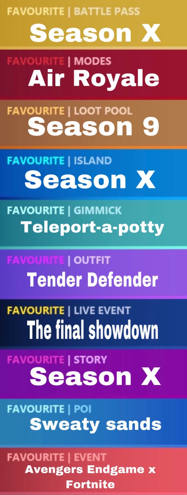 Fortnite Season X Loot Pool I Modes Air Royale Favourite I Loot Pool Season 9 Favourite I Island 1 Season X Favourite I Gimmick Teleport A Potty I Outfit Tender Defender Favourite I Live Event The Final Showdown I