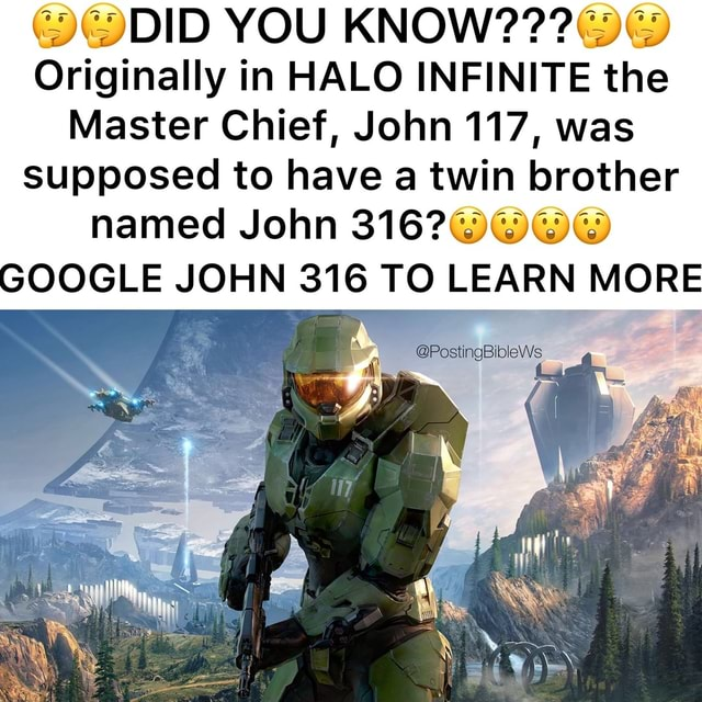Master chief big boobs Did You Know Originally In Halo Infinite The Master Chief John 117 Was Supposed To Have A Twin Brother Named John Google John 316 To Learn More Postingbiblews