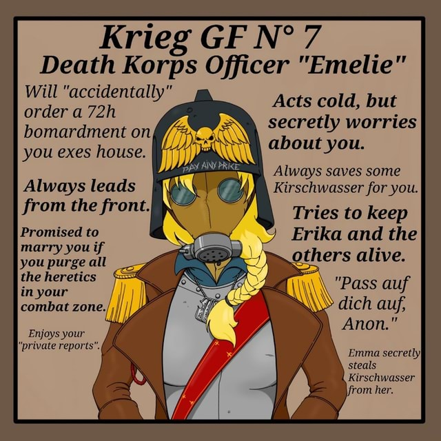 """Krieg GIF 7 Death Korps Officer """"Emelie"""" Acts cold, but ..."""
