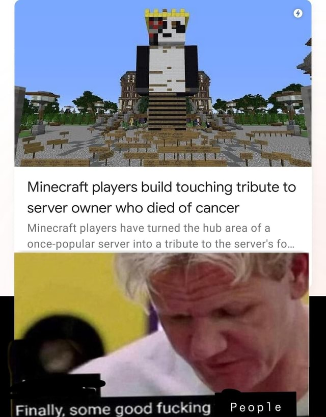 Minecraft Players Build Touching Tribute To Server Owner Who Died Of Cancer Minecraft Players Have Turned The Hub Area Of A Once Popular Server Into A Tribute To The Server S Fo Some