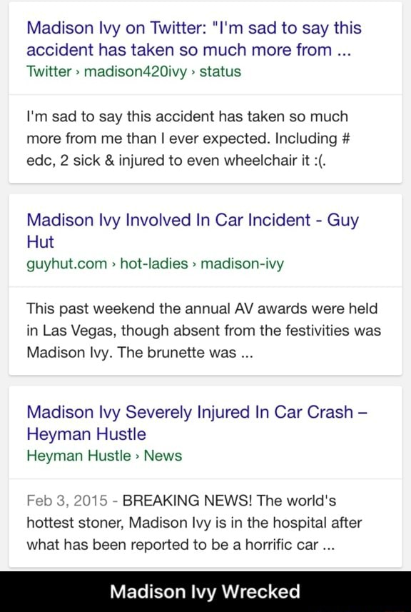 Car accident ivy madison Madison Ivy